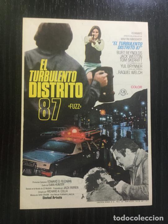 EL TURBULENTO DISTRITO 87 - PROGRAMA DE CINE VALLADOLID C/P (Cine - Folletos de Mano - Suspense)