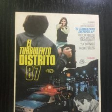 Folhetos de mão de filmes antigos de cinema: EL TURBULENTO DISTRITO 87 - PROGRAMA DE CINE VALLADOLID C/P. Lote 221285842