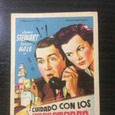 Folhetos de mão de filmes antigos de cinema: ¡CUIDADO CON LOS INSPECTORES! - PROGRAMA DE CINE BADALONA C/P 1952. Lote 221286066