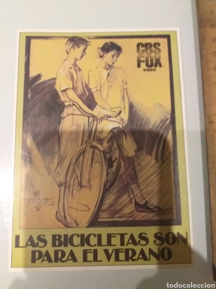 PEGATINA PROMOCIONAL VHS CBS LAS BICICLETAS SON PARA EL VERANO (Cine - Folletos de Mano - Ciencia Ficción)