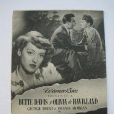 Cine: COMO ELLA SOLA-WARNER BROS-BETTE DAVIS Y OLIVIA DE HAVILLAND-PROGRAMA DE CINE-VER FOTOS-(K-717). Lote 221309380