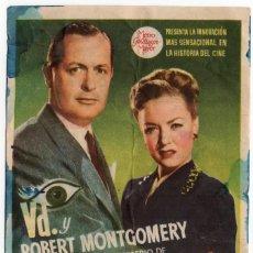 Flyers Publicitaires de films Anciens: FOLLETO DE MANO - LA DAMA DEL LAGO - CINE ASTORIA SALON ROSA CIRCULO MERCANTIL - IGUALADA - AÑO 1947. Lote 221318895