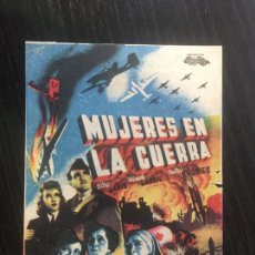 Cine: MUJERES EN LA GUERRA - PROGRAMA DE CINE BADALONA C/P 1942. Lote 221336878