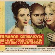 Cine: FOLLETO DE MANO - LOS HERMANOS KARAMAZOV - YUL BRYNNER - CINE MODERNO TARRAGONA - 6 SEPTIEMBRE 1960. Lote 221378941