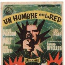 Cine: FOLLETO DE MANO - UN HOMBRE EN LA RED - EDMUND PURDON - CINE MODERNO - TARRAGONA - AÑO 1958. Lote 221381847