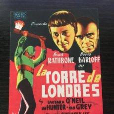 Cine: LA TORRE DE LONDRES - BORIS KARLOFF - PROGRAMA DE CINE TEIÀ C/P 1945. Lote 221398858