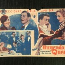 Cine: HUYENDO DE LA QUEMA - PROGRAMA DE CINE BADALONA C/P 1935. Lote 221402210