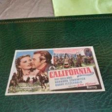 Folhetos de mão de filmes antigos de cinema: PROGRAMA DE MANO ORIG - CALIFORNIA - CON CINE TEATRO GARCÍA BERLANGAIMPRESO DORSO. Lote 221477710