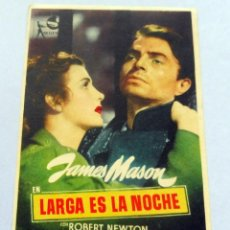 Cine: PROGRAMA DE CINE - LARGA ES LA NOCHE - CINEMA PROYECCIONES. Lote 221490578