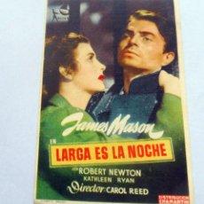 Flyers Publicitaires de films Anciens: PROGRAMA DE CINE - LARGA ES LA NOCHE - TEATRO CINE LEMOS. Lote 221490665