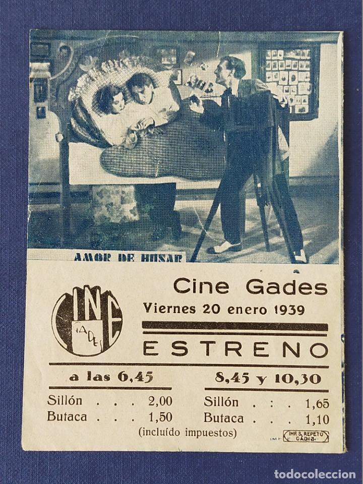 Cine: PROGRAMA DE CINE: AMOR DE HUSAR. MAGDA SCHNEIDER, PAUL JAVOR - DOBLE CINE GADES 1939 - Foto 3 - 221497413