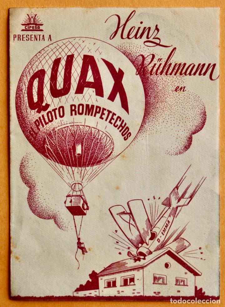 FOLLETO DE CINE CON PUBLICIDAD - CINE ECHEGARAY - QUAX PILOTO ROMPETECHOS 1944 (Cine - Folletos de Mano - Acción)