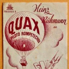 Cine: FOLLETO DE CINE CON PUBLICIDAD - CINE ECHEGARAY - QUAX PILOTO ROMPETECHOS 1944. Lote 221562291