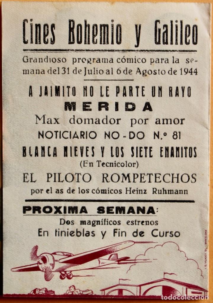 Cine: FOLLETO DE CINE CON PUBLICIDAD - CINE ECHEGARAY - QUAX PILOTO ROMPETECHOS 1944 - Foto 3 - 221562291
