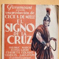 Cine: EL SIGNO DE LA CRUZ- CINE PARIS- 31 DICIEMBRE 1933. Lote 221565456