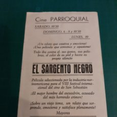 Cine: VILLABA LUGO GRAFIXMCAS JUNOR CINE PARROQUIAL EL SARGENTO NEGRO POLICIACO. Lote 221602042