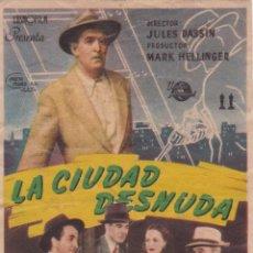 Cine: PROGRAMA DE CINE – LA CIUDAD DESNUDA – BARRY FITZGERALD – S/P. Lote 221602755