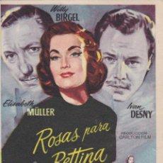 Cine: PROGRAMA DE CINE – ROSAS PARA BETTINA – ELISABETH MÜLLER – S/P. Lote 221605117