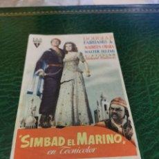 Cine: PROGRAMA DE MANO ORIG - SIMBAD EL MARINO - CON CINE DE MÁLAGA IMPRESO DORSO. Lote 221605287
