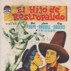 Cine: PROGRAMA DE CINE – EL HIJO DE ROSTROPALIDO – BOB HOPE – GOU-SOLIS - RIALTO Y PRADO – 1954. Lote 221609953