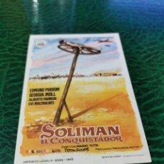 Cine: PROGRAMA DE MANO ORIG - SOLIMAN EL CONQUISTADOR- CON CINE DE TANGER IMPRESO DORSO. Lote 221613170