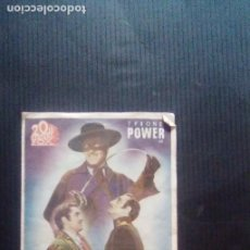 Cine: EL SIGNO DEL ZORRO PROGRAMA DOBLE FOX TYRONE POWER LINDA DARNELL. Lote 221688592