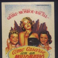 Cine: P-8940- COMO CASARSE CON UN MILLONARIO (HOW TO MARRY A MILLIONAIRE) (SOLIGÓ) MARILYN MONROE. Lote 221696578