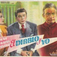 Cine: PN - PROGRAMA DE CINE - EL DIABLO Y YO - PAUL MUNI, ANNE BAXTER - TEATRO CINE ALBÉNIZ (MÁLAGA) 1947. Lote 221703513