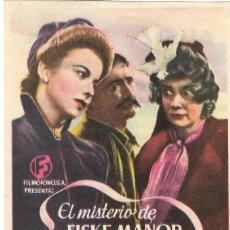 Cine: PN - PROGRAMA DE CINE - EL MISTERIO DE FISKE MANOR - IDA LUPINO - ALIATAR CINEMA (GRANADA) - 1947.. Lote 221710978
