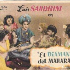 Cine: PN - PROGRAMA DE CINE - EL DIAMANTE DEL MAHARAJÁ - LUIS SANDRINI - CINE ALKAZAR (MÁLAGA) - 1950.. Lote 221713981