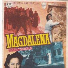 Cine: PROGRAMA: MAGDALENA. PUBLICIDAD CINE CERVANTES FIGUERAS ASTURIAS. AÑO 1957. Lote 221819557