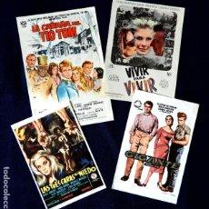 Cine: FOLLETO CARTEL DE MANO DE CINE - LOTE DE 4 CARTELES ANTIGUOS - ORIGINALES - AÑOS 50-60 -. Lote 221899022