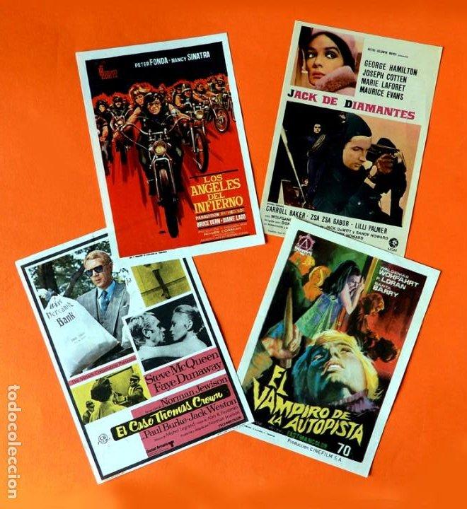 FOLLETO CARTEL DE MANO DE CINE - LOTE DE 4 CARTELES ANTIGUOS - ORIGINALES - AÑOS 50-60 - (Cine - Folletos de Mano - Acción)