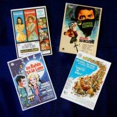 Cine: FOLLETO CARTEL DE MANO DE CINE - LOTE DE 4 CARTELES ANTIGUOS - ORIGINALES - AÑOS 50-60 -. Lote 221905118