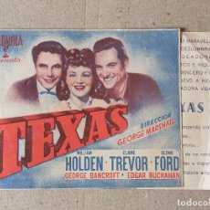 Cine: PROGRAMA DE CINE: TEXAS. WILLIAM HOLDEN, CLAIRE TREVOR - DOBLE SIN PUBLICIDAD. Lote 221946643