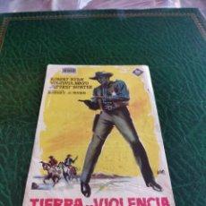Cine: PROGRAMA DE MANO ORIG - TIERRA DE VIOLENCIA - CON CINE DE VALENCIA IMPRESO DORSO. Lote 222017068