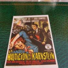 Cine: PROGRAMA DE MANO ORIG - LA MALDICIÓN DE LOS KARNSTEIN - SIN CINE IMPRESO DORSO. Lote 222045537