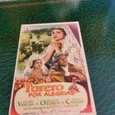 Cine: PROGRAMA DE MANO ORIG - TORERO POR ALEGRÍAS - CON CINE DE TARREGA IMPRESO DORSO. Lote 222047890