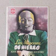 Cine: PROGRAMA DE CINE: LA MASCARA DE HIERRO. JOAN BENNETT, LOUIS HAYWARD - SIN PUBLICIDAD.. Lote 222049485