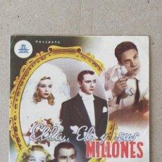 Cine: PROGRAMA DE CINE: ELLA EL Y SUS MILLONES. RAFAEL DURAN, JOSITA HERNAN REY - DOBLE SIN PUBLICIDAD.. Lote 222054096