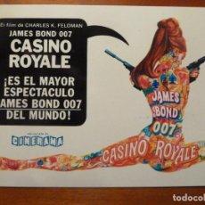 Cine: CASINO ROYALE JAMES BOND 007 FOLLETO DE MANO ORIGINAL RARO CON LOGO CINERAMA Y CINE IMPRESO AL DORSO. Lote 222084057