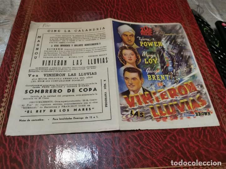 PROGRAMA DE MANO ORIG DOBLE - VINIERON LAS LLUVIAS - CON CINE DE MASNOU IMPRESO AL DORSO (Cine - Folletos de Mano - Drama)