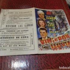 Cine: PROGRAMA DE MANO ORIG DOBLE - VINIERON LAS LLUVIAS - CON CINE DE MASNOU IMPRESO AL DORSO. Lote 222113487