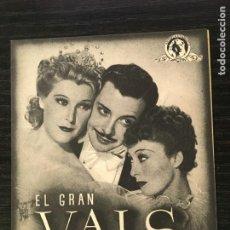 Cine: EL GRAN VALS - PROGRAMA DE CINE DOBLE - C/P BADALONA 1946 - JOHANN STRAUSS. Lote 222147046