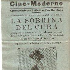Cine: VINAROZ (CASTELLÓN) CINE MODERNO. LA SOBRINA DEL CURA. ADAPTACIÓN OBRA CARLOS ARNICHES.(CINE MUDO).. Lote 222193997