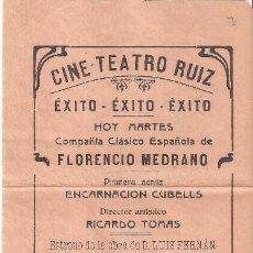 Cine: BENICARLÓ (CASTELLÓN) PROGRAMA CINE TEATRO RUIZ. 1927. EL BANDIDO DE LA SIERRA DE FERNÁNDEZ ARDAVÍN. Lote 222194551