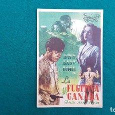 Cine: PROGRAMA DE MANO CINE LA FUGITIVA DEL CANADA (1947) CON CINE AL DORSO. Lote 222214361