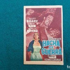 Cine: PROGRAMA DE MANO CINE HACHA DE GUERRA (1957) CON CINE AL DORSO. Lote 222236933