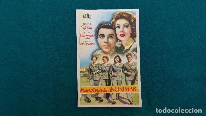 PROGRAMA DE MANO CINE HEROINAS ANONIMAS (1946) CON CINE AL DORSO (Cine - Folletos de Mano - Bélicas)