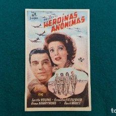 Cine: PROGRAMA DE MANO CINE HEROINAS ANONIMAS (1946) CON CINE AL DORSO. Lote 222249182